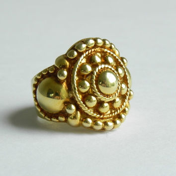 Brass Mandala Ring Size 7 // Large Bali Styled Tribal Statement Ring // Boho Chic Jewelry
