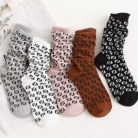 FENDI Popular Women Full F Letter Breathable Sport Cotton Socks