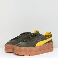 Puma X Fenty Suede Creepers In Khaki at asos.com