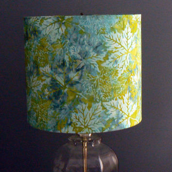 Drum Lamp Shade, Batik Maple Leaves, Shades of Blue and Green