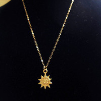 Cute Golden Sun Necklace, Simple Everyday Gold Necklace, Minimalist, Gold Filled Chain, Sun Charm Necklace, Gift For Her, Astronomy Jewelry