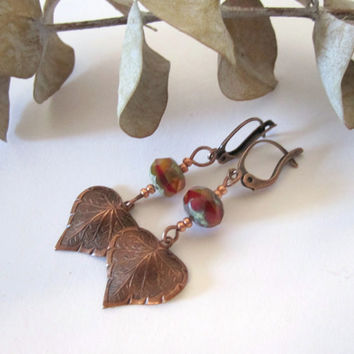 Leaf Earrings - Copper with Czech Glass Bead