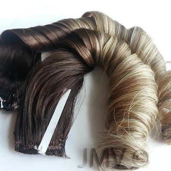"22"" #4 Brown Rustic Caramels Ombre 100% human hair extensions Rustic Blonde Clip-In Straight"