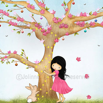 Girl and bunny wall art, kids room decor, children's art, nursery art