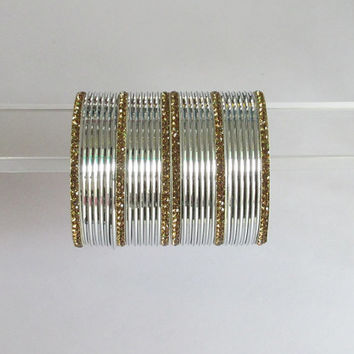30 Antique Gold Silver Indian Metal Bangles/Bollywood Rhinestones Bangles Set/Bridal Wedding Silver Churi Bracelet Set/Long Cuff Bangles