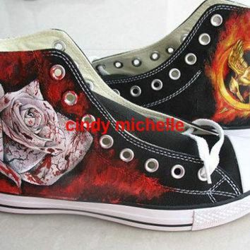ONETOW Custom Converse Hunger Games Hand Painted On Converse Shoes Great Gift