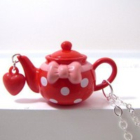 Red And White Polka Dotted Teapot Necklace by CuteAbility on Etsy