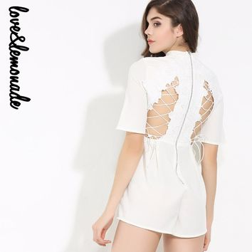 White Halter Cross Strap Lace Playsuit