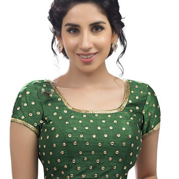 Charming Silk Party-Wear Green Sari Blouse SNT-KP-106-SL