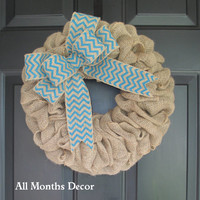 Natural Burlap Wreath with Turquoise Chevron Burlap Bow, Summer, Fall, Rustic Country, Spring Easter Winter, Year Round, Porch Door Decor