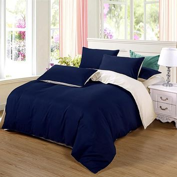 AB side bedding set super king duvet cover set dark blue +beige