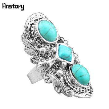 Vintage Look Tibet Alloy Antique Silver Plated Flower Heavy Real Three Turquoise Bead Adjustable Rings TR68