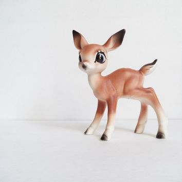 Ceramic Fawn Deer Figurine, Collectibles, Nursery Decor, Vintage Christmas Bambi Big Eye