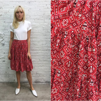 vintage red bandana print circle skirt / novelty print skirt / full sweep country western square dance