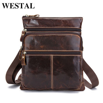 WESTAL Small Male Bag Genuine Leather Bag Vintage Crossbody Bags for Men Messenger Leather Men Shoulder Bags Phone Pouch Flap