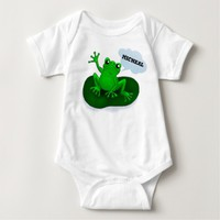 Customizable waving frog floating on a leaf tee shirts