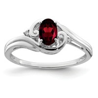 Sterling Silver Diamond & Oval Garnet January Birthstone Ring
