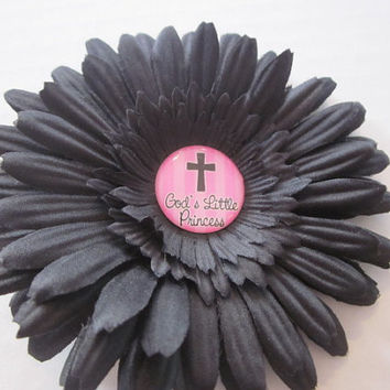 Flower Clip, Flower Bows, Church Bows, Jesus, God's Princess 4 Inch Flower Hair Clip By Sweetpeas Bows & More