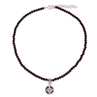 Silver Garnet 'Lucky Charm' Choker (Thailand) | Overstock.com Shopping - The Best Deals on Necklaces
