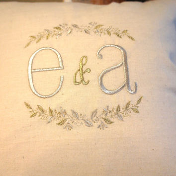 "Beautiful Wedding Gift Initials Monogramed Embroidered Throw Pillowcase w/ couple initials 15"" square pillow natural beige tan linen fabric"