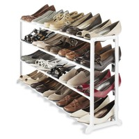 20 Pair Shoe Rack In White Resin