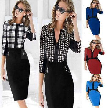 2015 Sale Dresses New Women Work Dress Fashion Patchwork Stretch Tunic Career Vestidos Business Party Pencil Sheath