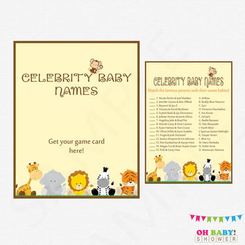 Celebrity Baby Name Game, Safari Baby Shower Game, Printable Baby Shower, Gender Neutral, Jungle Baby Shower, Instant Download, BS0001-N