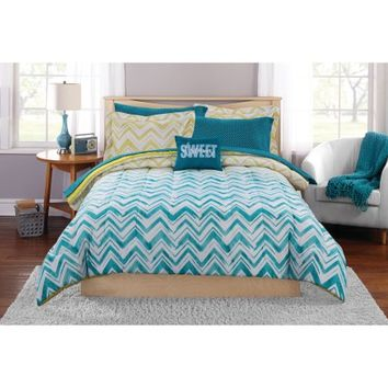 Mainstays Ombre Chevron Bed in a Bag Complete Bedding Set - Walmart.com