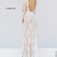 Sherri Hill 50019 Long Sleeve Stretch Lace Prom Dress – Off White by Bridal Expressions