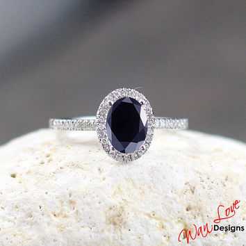 Dark Blue Sapphire & Diamond Oval halo Engagement ring 1ct 7x5mm White-Yellow-Rose Gold-Custom made size-Wedding-Anniversary-Layaway 14k-18k