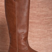 Breckelles Weather The Storm Rider-18 Burnished Faux Leather Riding Boots - Tan