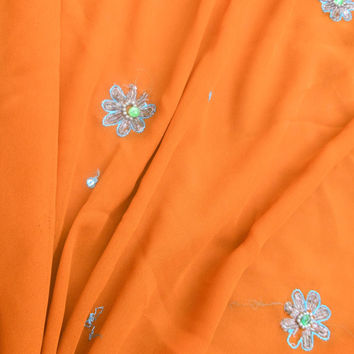 Free Shipping Orange Antique Vintage Sari Hand Beaded Georgette Saree Wrap Fabric Indian Craft Clothing Party Wear Sarong MD766