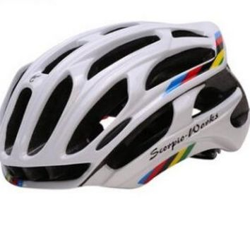 Freeshipping!Cycling Helmet Road Mountain In-mold Bicycle Helmet Ultralight Bike Helmet With LED Warning Lights Casco Ciclismo