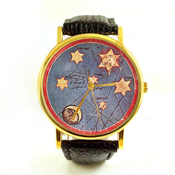 Vintage Sun and Moon Watch, Antique Astronomy Watch, Astrology Watch, Unisex Watch, Ladies Watch, Men's Watch, Analog, Gift for Men