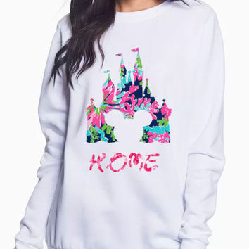 Ladies Crew Neck Fleece Sweatshirt with Lilly Pulitzer Cinderella Castle