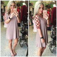 Caged Dress: Burgundy