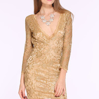 Champagne Hollow Lace V Neck Party Dress - Sheinside.com