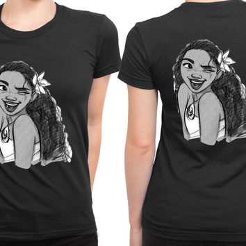 Moana Sketch Up Smile 2 Sided Womens T Shirt