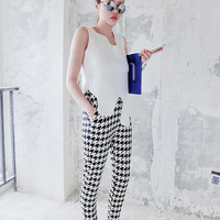 slacks/houndstooth trousers/women pants/summer pants/straight trousers/ladies black pants/women summer clothes/high waist pants/high fashion