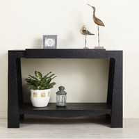 Modern Console Table With Drawer Black Finish Rectangular Living Room Furniture