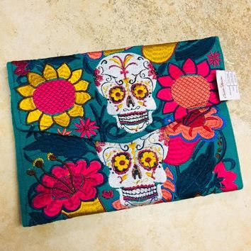 Sugar Skulls Embroidered Clutch & Crossbody Bag Blue