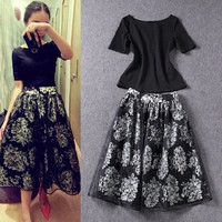 Black Short Sleeve T-Shirt and Vintage Print Midi Skirt
