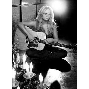 Miranda Lambert poster Metal Sign Wall Art 8in x 12in Black and White