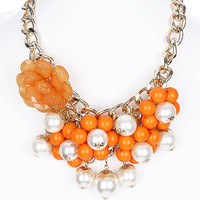 NECKLACE / PEARL / FLOWER / LUCITE BEAD / BIB / METAL CHAIN / LINK / 5 INCH DROP / 16 INCH LONG / NICKEL AND LEAD COMPLIANT