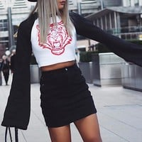 2017 Flared Sleeve Crop Top Long Sleeves T-shirts Tiger Head Printed Upper Outer Garment for Women Sep9