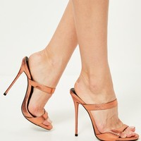 Missguided - Bronze Barely There Heeled Mules