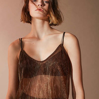 UO Sasha Copper Pleat Top | Urban Outfitters