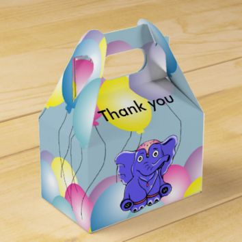 Circus baby elephant with balloons party favor box