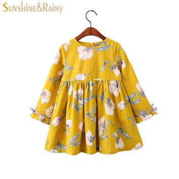 2017 Autumn Floral Girls Dresses Flower Printed Long Sleeves Bow Baby Girl Dress Vintage Kids Princess Dress For Party 3-9Yrs