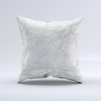 The White Scratched Marble ink-Fuzed Decorative Throw Pillow